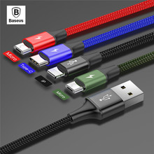 BASEUS All-in-One USB Cable for iPhone X 8 7 6 5 for iPhone + Type C + Dual Micro USB Data Fast Charge Cable for one plus 6
