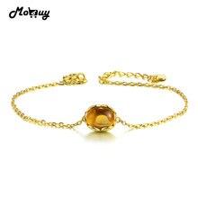 0e10efd4b706 MoBuy MBHI046 Oval Natural citrino piedras preciosas pulseras y brazaletes  925 Sterling-plata-joyería oro amarillo cadena fina p.