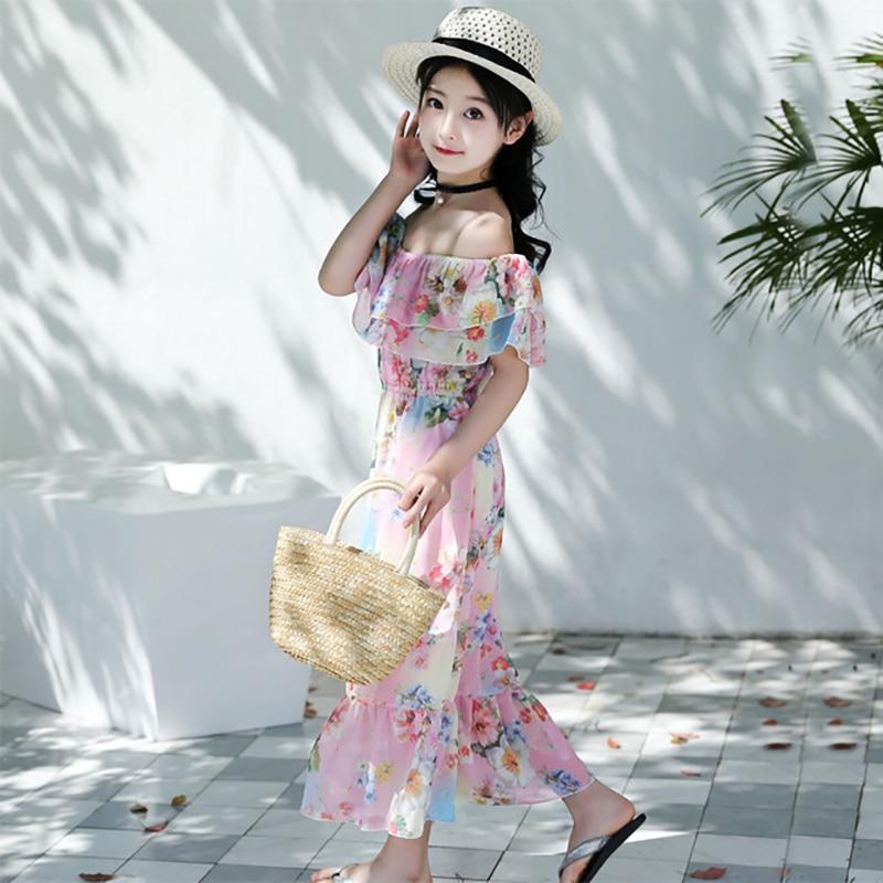 85e2278b3c85 2019 Summer Kids Girls Dress 6 7 8 9 10 to 12 14 Years Print Bohemian  Dresses Casual Children Clothes Kids Beach Costume B12C40A