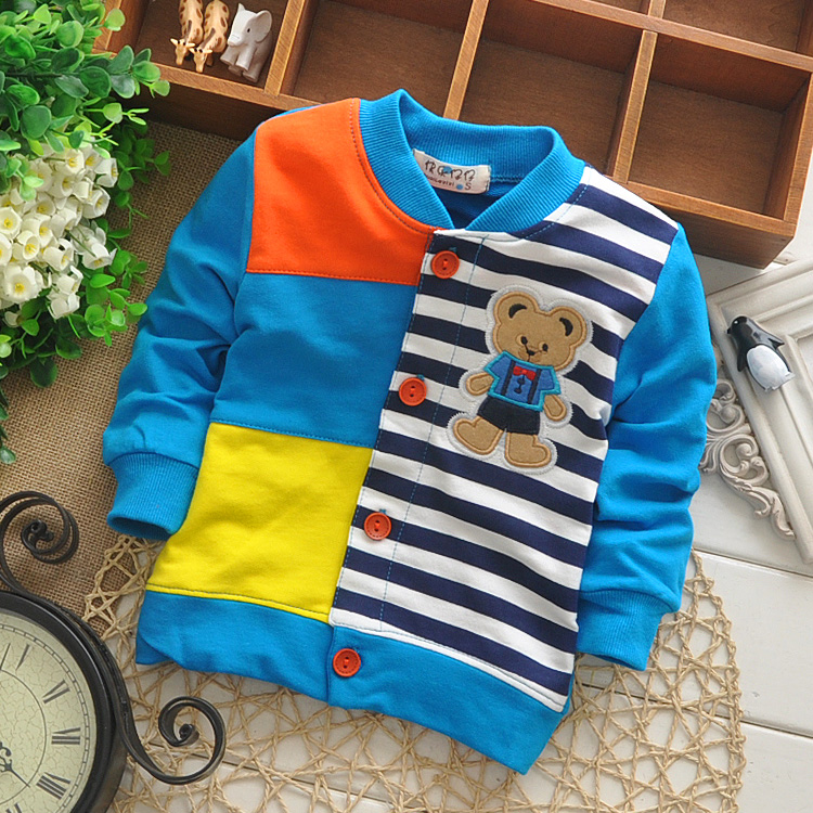 (1piece /lot) 100% cotton 2016 lattice button baby outerwear (0-3 year old )