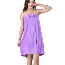 Hot Sexy Women Microfiber Bath Towel Tube Top Bow Robe Bathrobe Body Spa Wrap Super Absorbent Gown