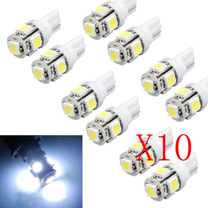 100pcs Univeral T10 Wedge 5-SMD 5050 Xenon Light bulbs 192 168 194 W5W 2825 158 Cool White License Plate Lights Car Electronics 194 168 5050 w5w t10 5 smd white led light bulbs replacement for interior dome map dashboard lights lamp exterior license