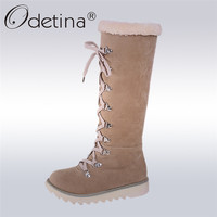 Odetina 2016 Flat Warm Plush Women Snow Boots Handmade Lace Up Mid Calf Ladies Australian Boots