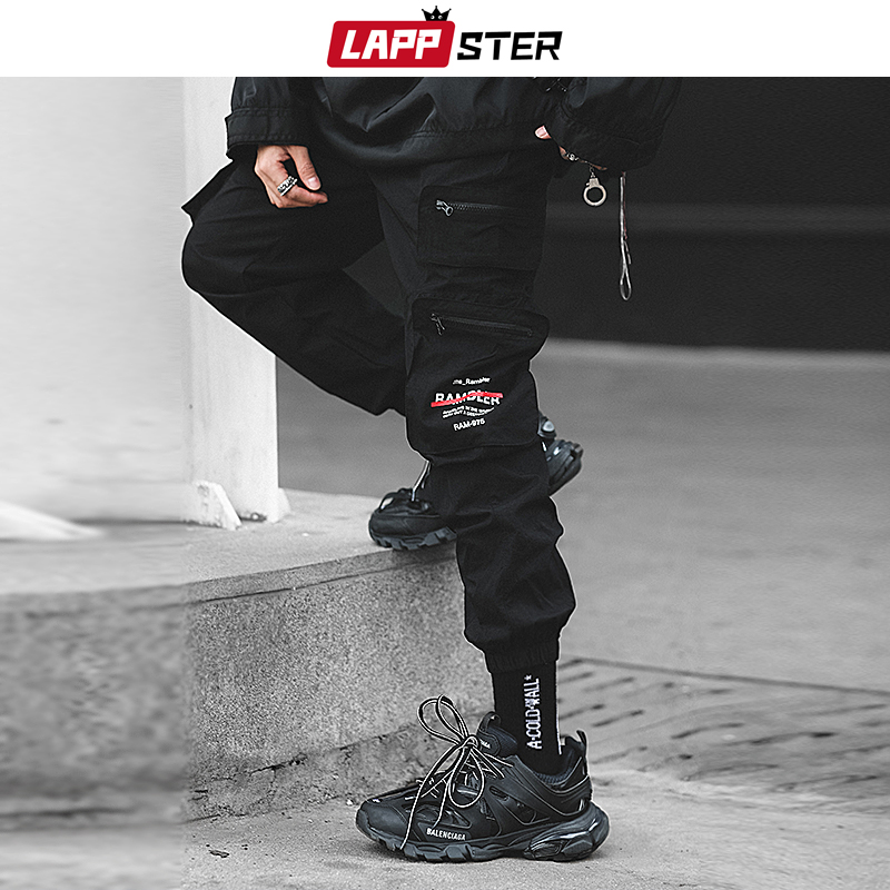 LAPPSTER Men Pockets Cargo Pants 2019 Japanese Streetwear Hip Hop Zipper Joggers Casual Black Sweatpants Fashion Track Pants 2XL