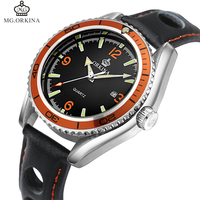 ORKINA Mens Date Display Luminous Quartz Watches Luxury Military Sport Analog Wrist Watch Genuine Leather Band