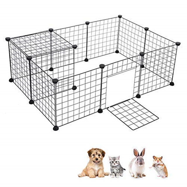 8 PCS Dog Fences Portable Metal Wire Yard Fence Portable Pet Playpen Animal Fence Cage Kennel Crate Small Animals Kennel