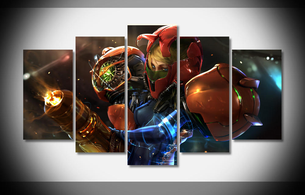 5 panel large HD printed oil painting Movie Poster Metroid Samus canvas print home decor wall art picture for living room F311 gemei gm 7003