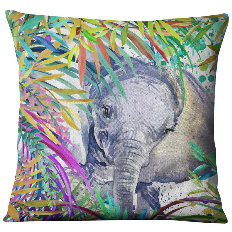 Image 5 - Hand painted Watercolor Printed Linen Cushion Cover  Animals Plants Flamingo Giraffe Throw Pillowcase Home Decor Sofa Decoration-in Cushion Cover from Home & Garden