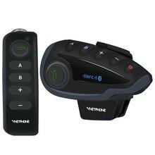 Um par vnetphone v8 interfone motocicleta 5 pilotos bluetooth sistema de comunicação capacete walkie talkie nfc controle remoto