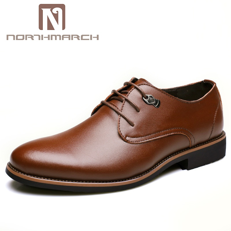 NORTHMARCH Men Dress Shoes Simple Style Men Oxford Shoes Lace-Up Brand Men Formal Shoes Leather Business Men Wedding Shoe цена 2017