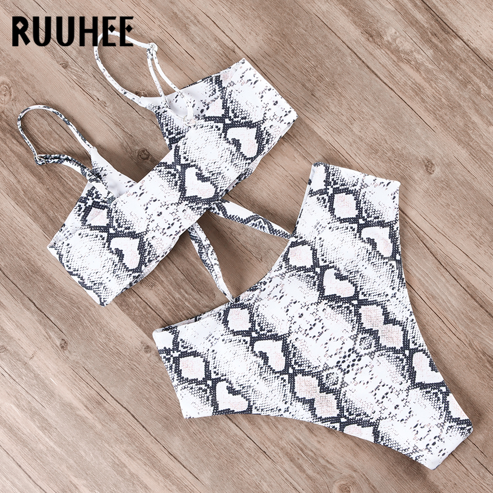 RUUHEE Bikini Swimwear Women Swimsuit 2019 High Waist Bikini Set Push Up Front Knot Bathing Suit Women Summer Beach wear Biquini