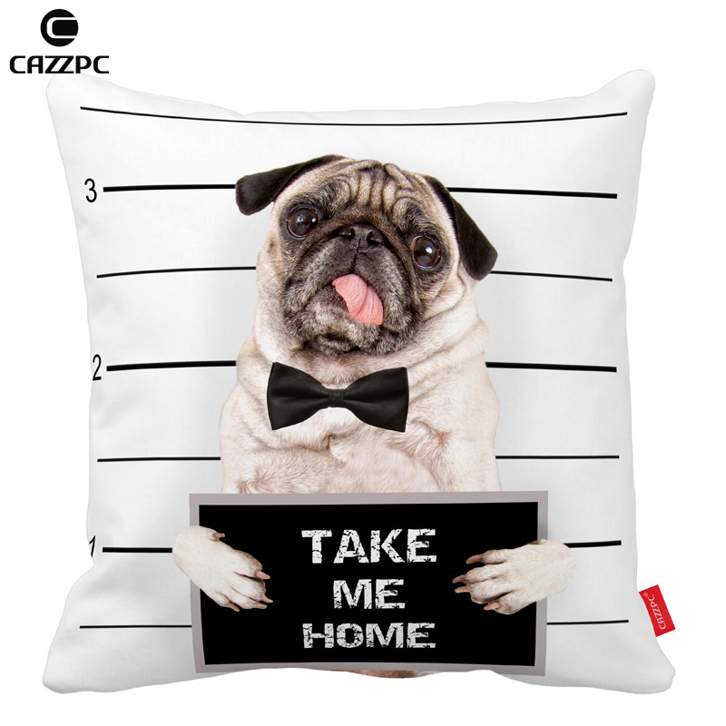 bad cute pug dog Print Custom Car Decorative Throw Pillowcase Pillow cases Cushion Covers Sofa Chair Home Decor