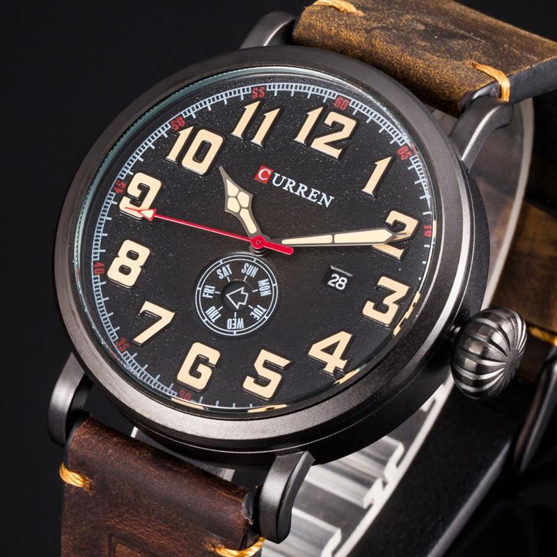 CURREN 8283 Fashion Digital Quartz Watch Date And Week Display Business Mens Wristwatches Leather Male Clock Erkek Kol Saati