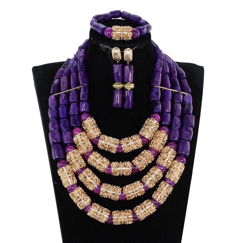 Luxury 4 Layers Purple Nigerian Real Coral Beads Jewelry Sets New Bridal Statement Necklace Set Wedding