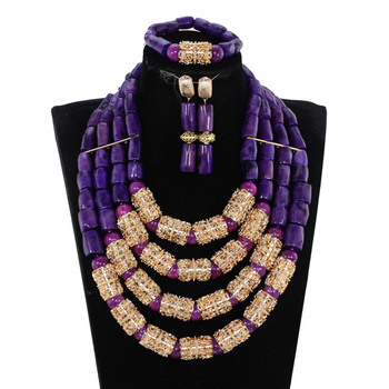 Luxury 4 Layers Purple Nigerian Real Coral Beads Jewelry Sets, New Bridal Statement Necklace Set Wedding Jewelry CL1190