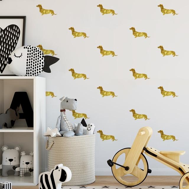 Stickers Voor Op De Muur.Decoratieve Glitter Of Brons Teckel Stickers Decals Glitter Sticker