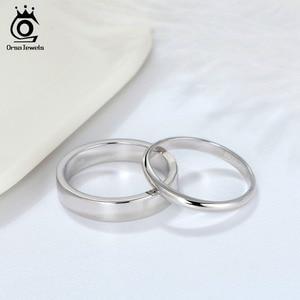 Image 2 - ORSA JEWELS 925 srebro mężczyźni kobiety pierścionki klasyczny prosty styl zwykły pierścień rocznica para obrączka biżuteria SR73