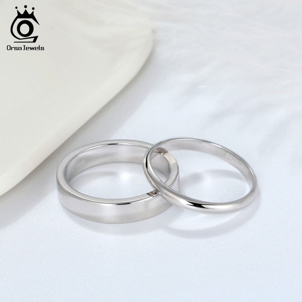 ORSA JEWELS Real 925 Sterling Silver Female Rings Classic Round Shape Simple Style Anniversary Wedding Ring ORSA JEWELS Real 925 Sterling Silver Female Rings Classic Round Shape Simple Style Anniversary Wedding Ring Fashion Jewelry SR73
