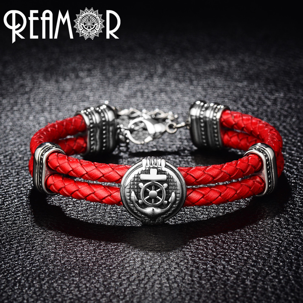 REAMOR Double Braided Leather Rudder & Anchor Charms Bracelet 316L Stainless Steel Bead  ...
