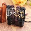 AMOURJOUX Leather Anchor Bracelet For Men Women Anchors Charm Male Bangle Bracelet Chain Waistband Best friend gift