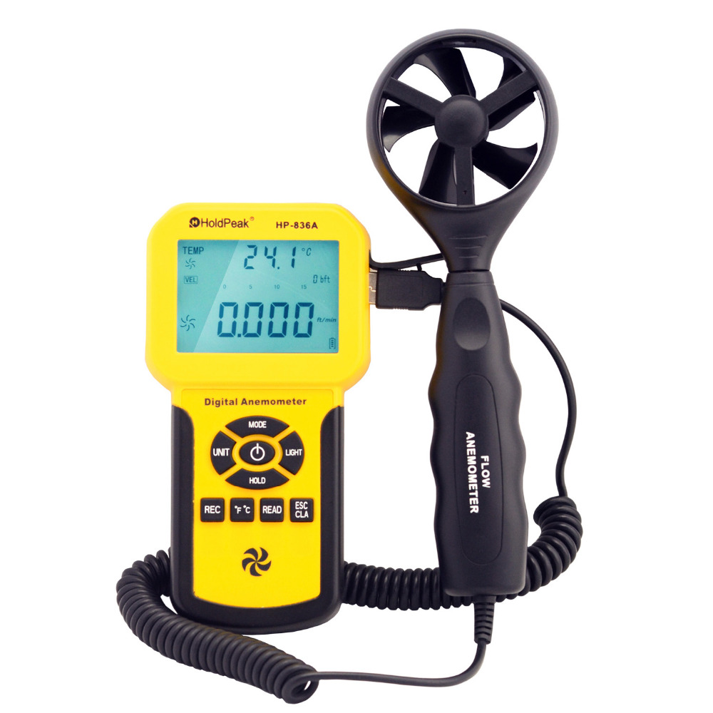 HoldPeak HP-836A Digital Wind Speed Air Volume Meter Anemometer Handheld with Data Logger and Carry Case holdpeak hp 856a digital wind speed air volume meter anemometer usb handheld with data logger and carry case