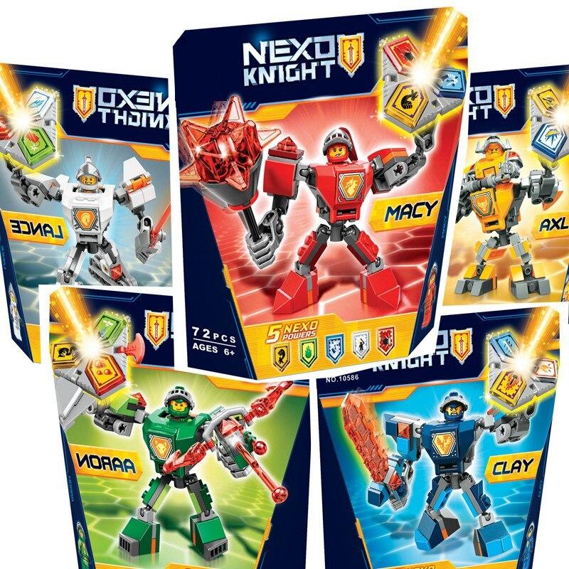 Nexus Nexo Knights Building Blocks Brinquedos Model set Figures Toys Macy Aaron AXL Lance Clay Battle Suit 2018 Legoings Gifts hot sy762 nexus nick knights mech robot building block clay macy axl lance beast master moltor bricks block figure toys for kids
