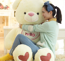 "huge creative plush ""hello"" teddy bear toy big fat white colour bow teddy bear doll gift about 150cm"