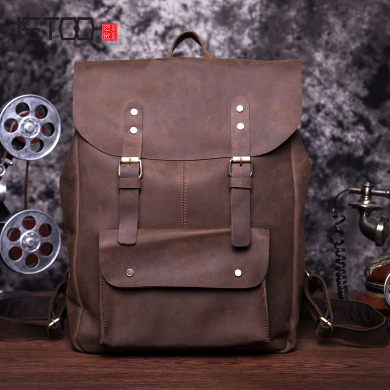 AETOO Leather men bag wholesale Europe and the United States retro backpack men and Europe trend bag mad horse leather backpack aetoo europe and the united states retro oil leather men bag large capacity leather briefcase import the first layer of yellow l