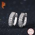 Fashion 925 sterling silver earrings jewelry luxury Rhinestone design crystal hoop earrings women jewelry