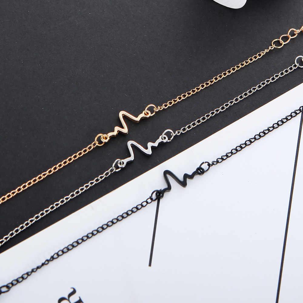 Hot Sale Korean Fashion Hot Simple Waves ECG Heart Rate Lightning Bangles For Women & Men Jewelry Summer Style Beach