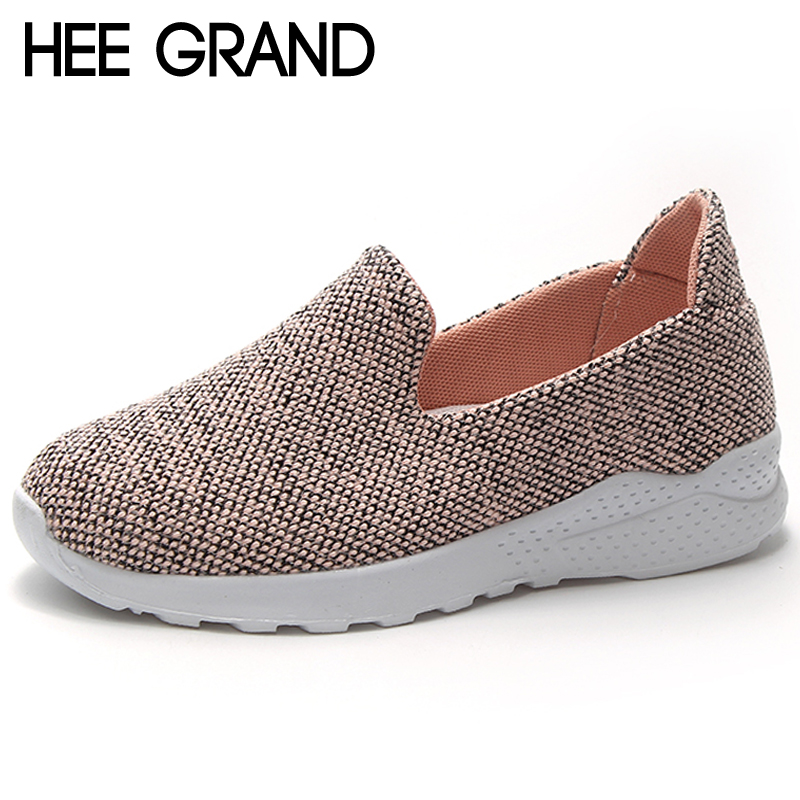 Hee Grand Casual Woman Flats Shoes Convenient Breathable Mesh Loafers Slip On Woman Flat With Shallow Platform Shoes XWC1408 hee grand breathable casual woman shoes air mesh candy color woman flats loafers comfortable slip on shoes size 35 40 xwc1181