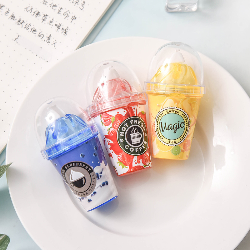 Cute Stationery Creative Correction With Milk Tea Cup Altered With Ice Cream Correction With Kawaii School Supplies