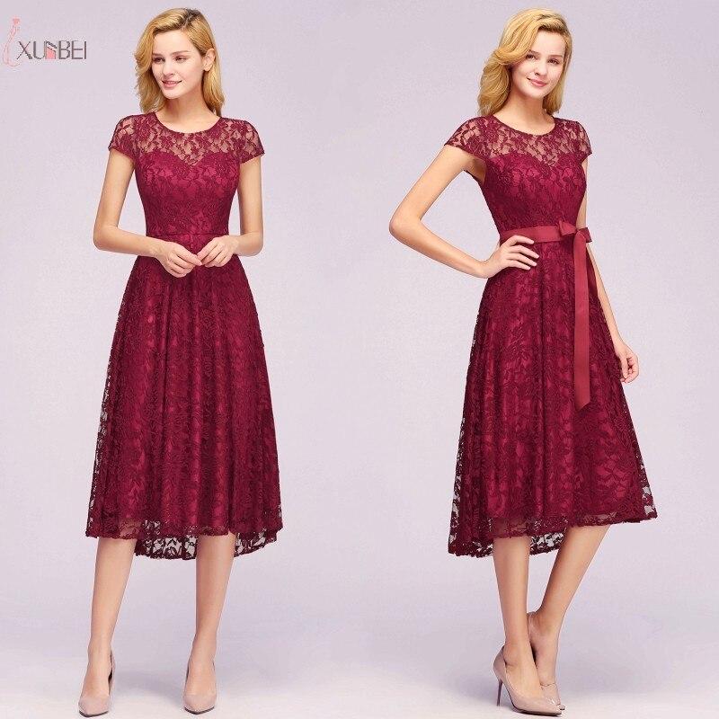 2019 Burgundy Lace Short   Prom     Dresses   Scoop Neck Cap Sleeve   Prom   Gown Vestido de festa