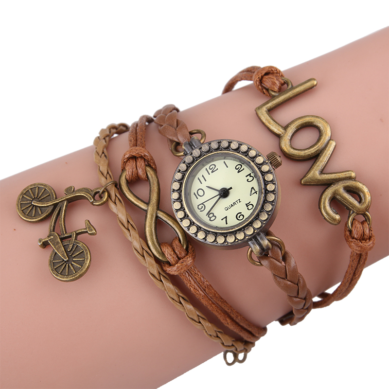 Gnova bike Top Brown Bracelet Handmade Watch Sueded Leather Bronze Bicycle Charm Women Girl Love Paracord Wristwatch A739 cute love heart hollow out bracelet watch for women