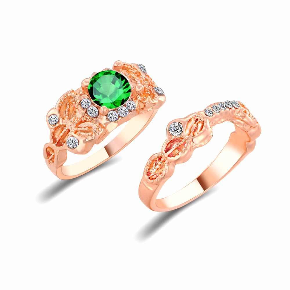 Цветок белый и зеленый кристалл свадьба RIing розовое золото цвет нержавеющая сталь кольцо для женщин Круг CZ модные украшения оптовая продажа