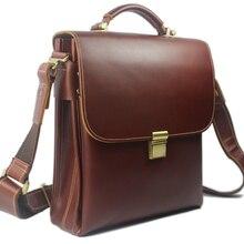 Роскошный портфель из натуральной кожи, мужская деловая сумка, мужской портфель, кожаная мужская офисная сумка для iPad, сумка через плечо, сумка-тоут M002