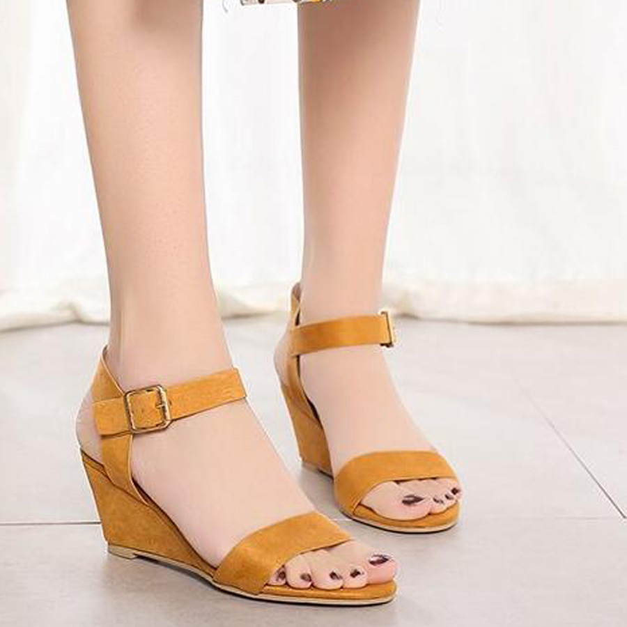 MHYONS Sandals Shoes Pumps Buckle-Strap Ladies Spring Fashion-Size Feminina Wedges