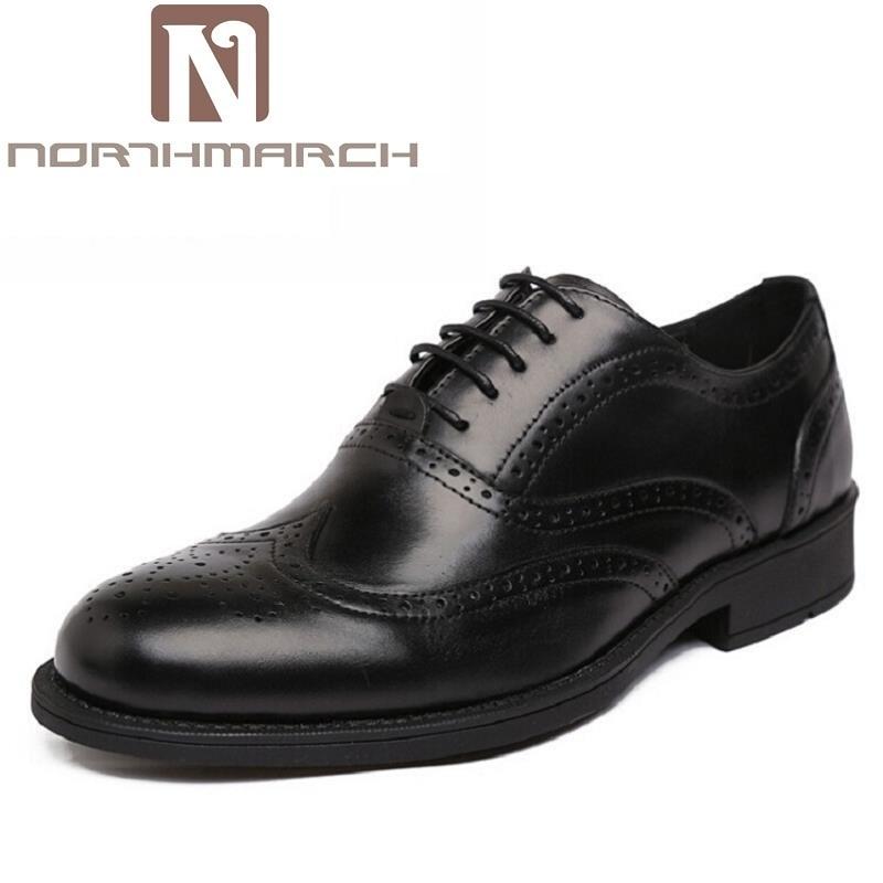 Negócios Genuíno Preto Mens Grosso Italiano Homens De Northmarch Fundo Couro Sapatos marrom Formal Vestido Clássico Brogue Escritório Marca Casamento qHOw0v14
