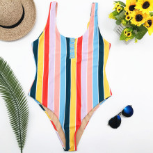 Summer Swimwear Women Sling Backless One Piece Slim Swimsuit Vintage Retro Colorful Stripe Bathing Suits Bikini Padded Beachwear
