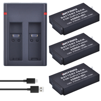 Batmax 3pcs 2720mAh Camera Battery +USB Dual Charger for GoPro ASBBA-001 Battery and Gopro Fusion 360-degree Camera