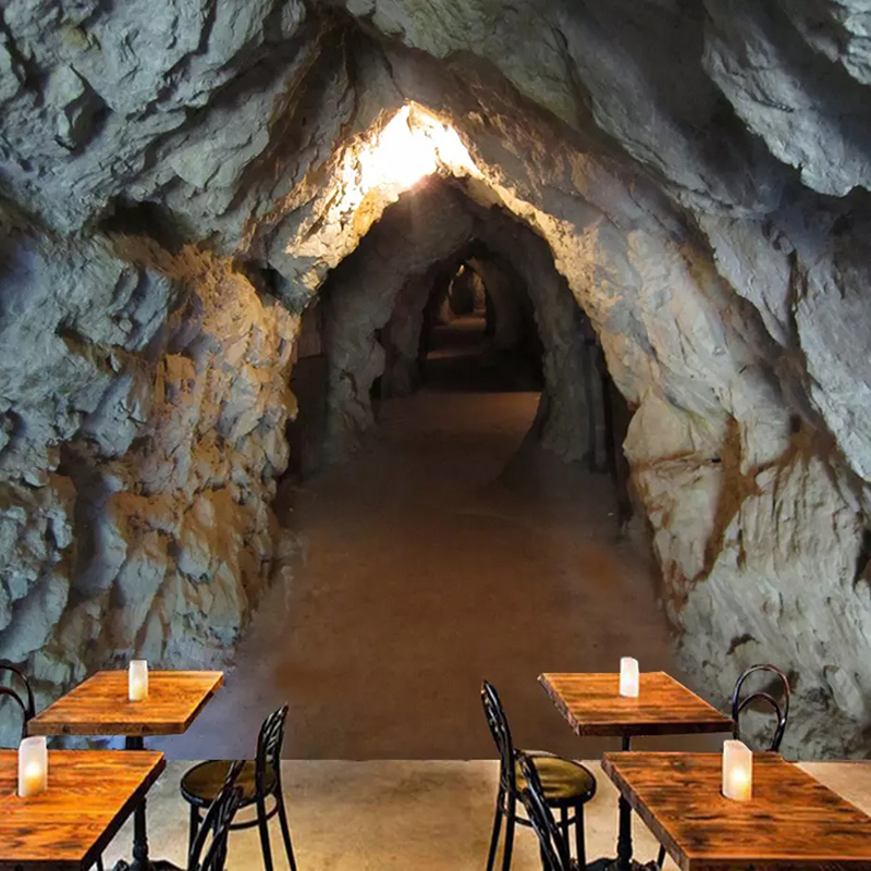 Custom Mural Wallpaper 3D Stereo Original Cave Tunnel Stone Wall Photo Wall Papers Living Room Restaurant Creative Backdrop Wall