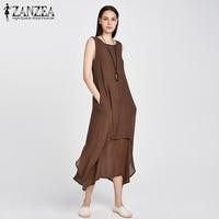 ZANZEA Fashion New 2016 Womens Chinese Style Casual Loose Dress Cotton Linen Dresses Long Maxi Vestidos