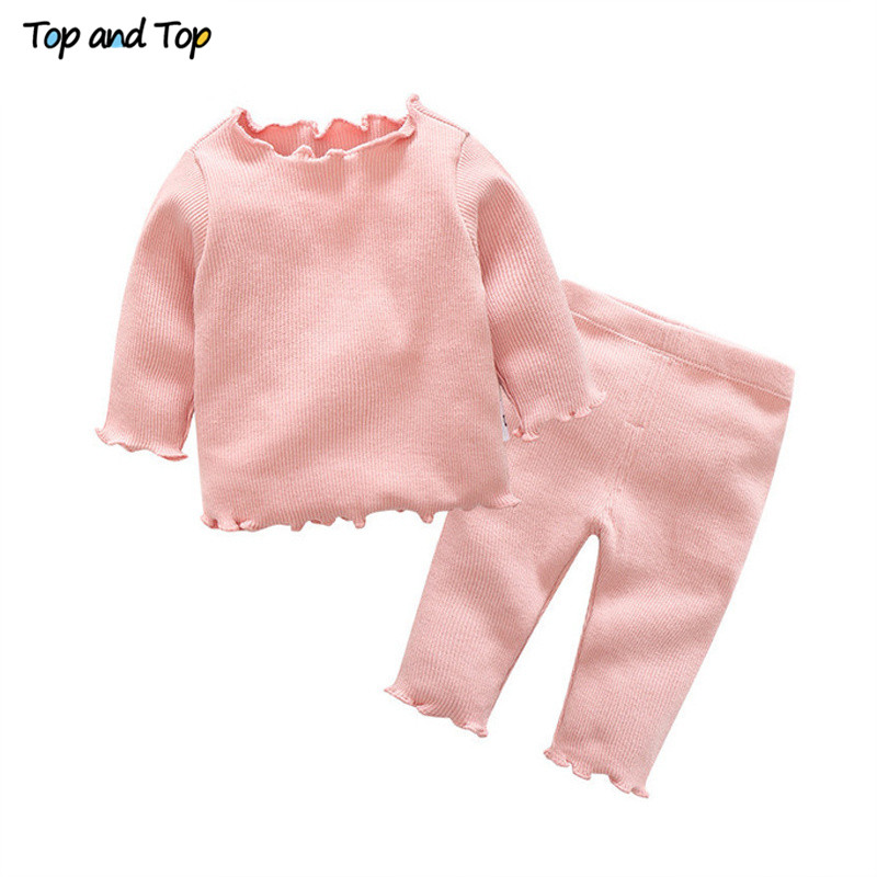 Trousers Clothing-Set Baby-Girl Tshirt Striped Cotton Organic Top Cute And Casual 2pcs/Set