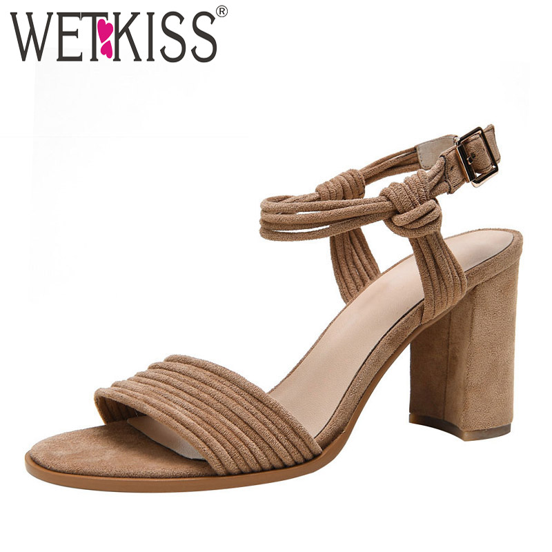WETKISS High Heels Sandals Women 2019 Summer Sandals Shoes Flock Female Fashion Party Shoes Woman Ankle Strap Strappy FootwearWETKISS High Heels Sandals Women 2019 Summer Sandals Shoes Flock Female Fashion Party Shoes Woman Ankle Strap Strappy Footwear