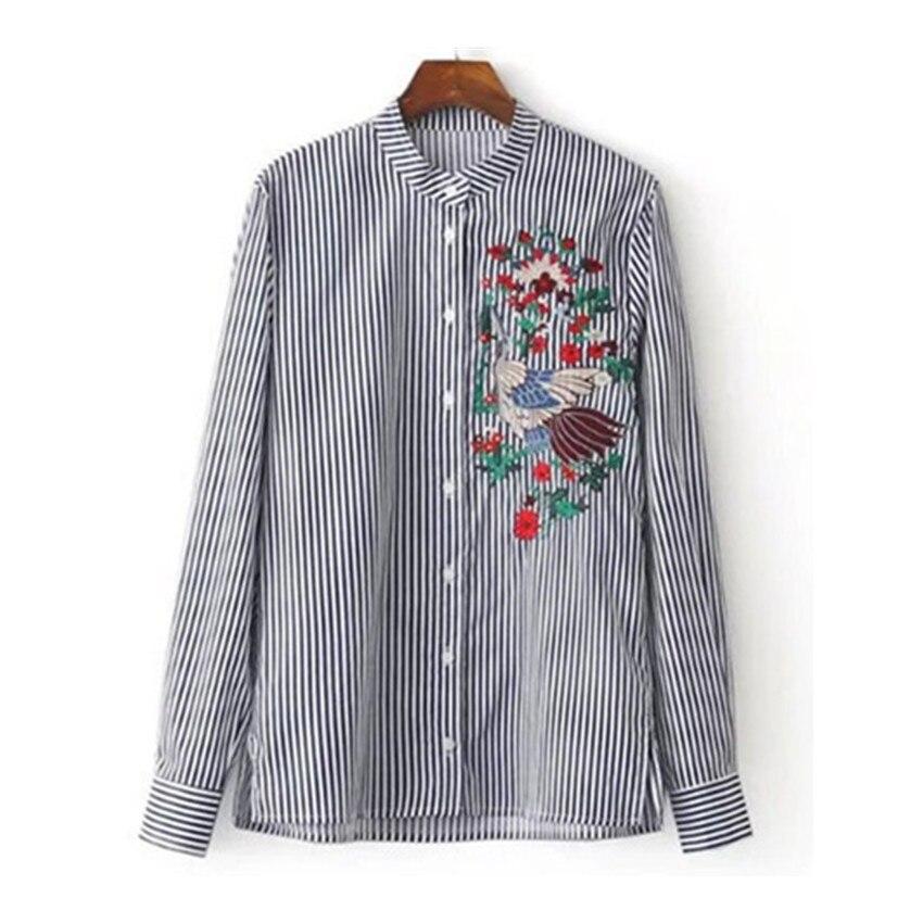 0bc68ba27220 Mujer Bordado blusa rayas camisa algodón stand collar manga larga floral  pájaro Tops camisa feminina