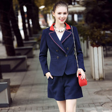 2016Autumn winter woolen clothes set turn down collar blouse short pants female twinset outfit juniors clothes