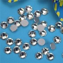 Transparent color  SS3-SS50 3D Nails Art Tips Glass Rhinestone Flatback DIY Nail Deco Beads not hotfix use glue 1440pcs Wedding