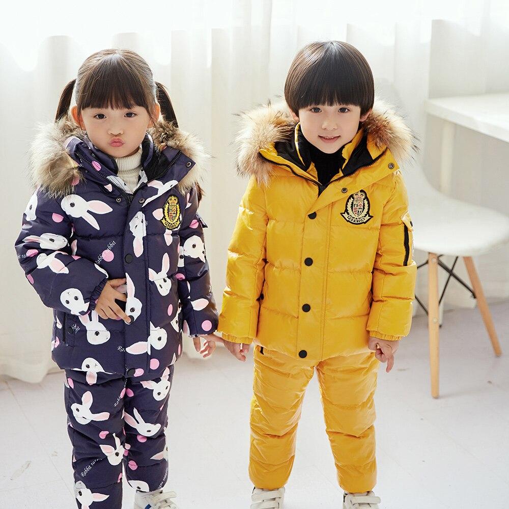 Super chaud enfants hiver costumes garçons fille canard doudoune + bavoir pantalon 2 pièces vêtements ensemble thermique enfants neige porter Top QualityT15