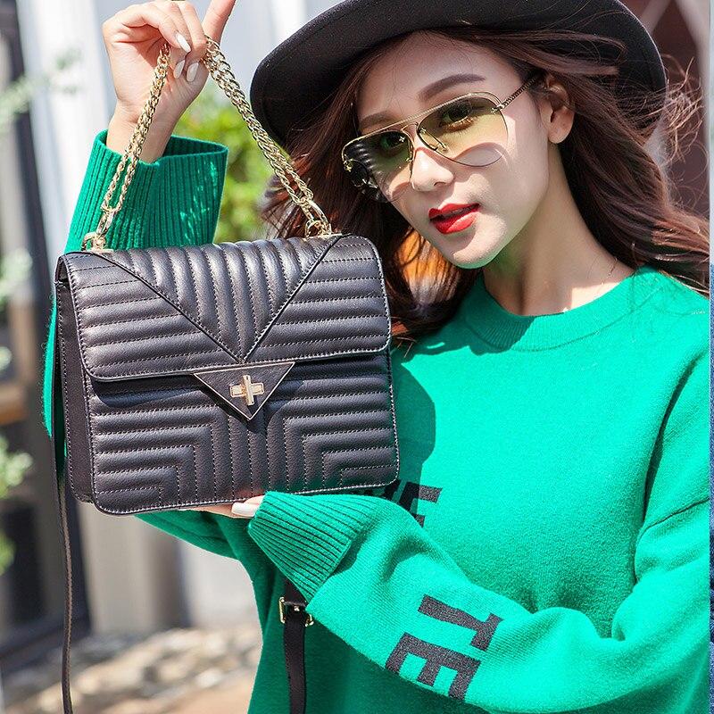 KZNI Genuine Leather Women Handbags Bag with Chain Black Women Leather Shoulder Bag for Girl High Quality Femmes Sac 1439 сумка через плечо bag with chain 2015s xc374 women leather handbags
