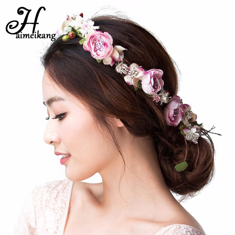 haimeikang Flower Wreath Girl Head Rose  Crown Bridal Hair Accessories Wedding Headband Party purple Floral garlands Adjustable xinyun wedding flower crown white veil decorated bride headdress weddings hair accessories super soft hand feel hair ornaments